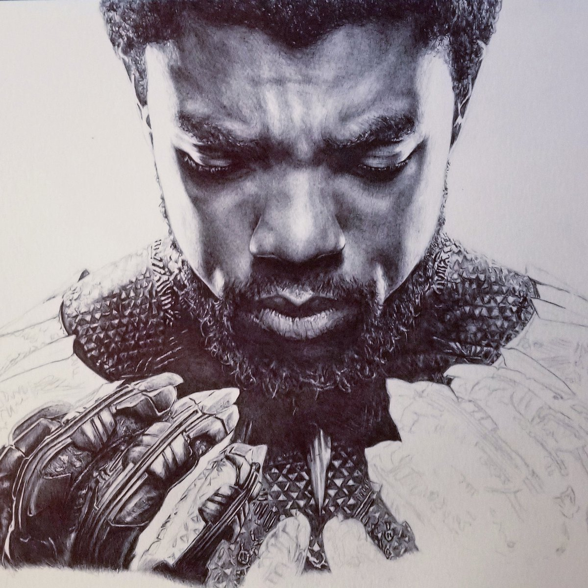 black panther pen drawing catches chadwick boseman s attention