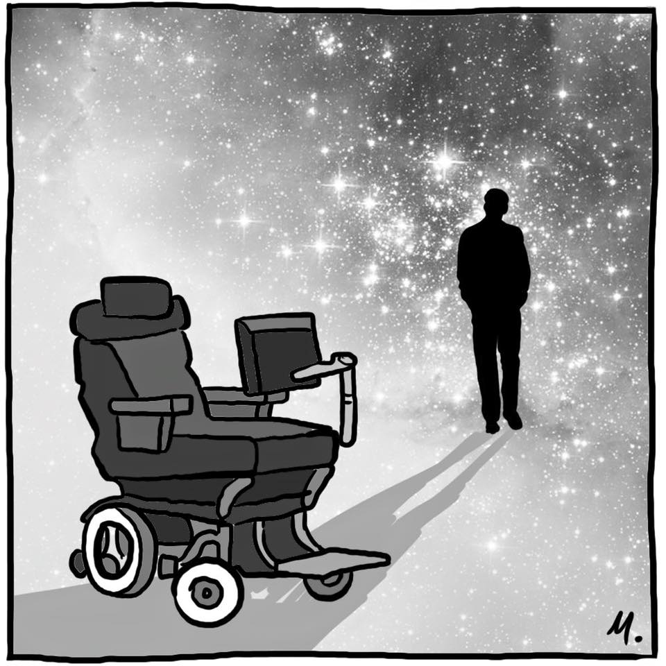 I absolutely love this!  RIP Stephen Hawking   (by Melbourne artist Mitchell Toy) #WednesdayWisdom
