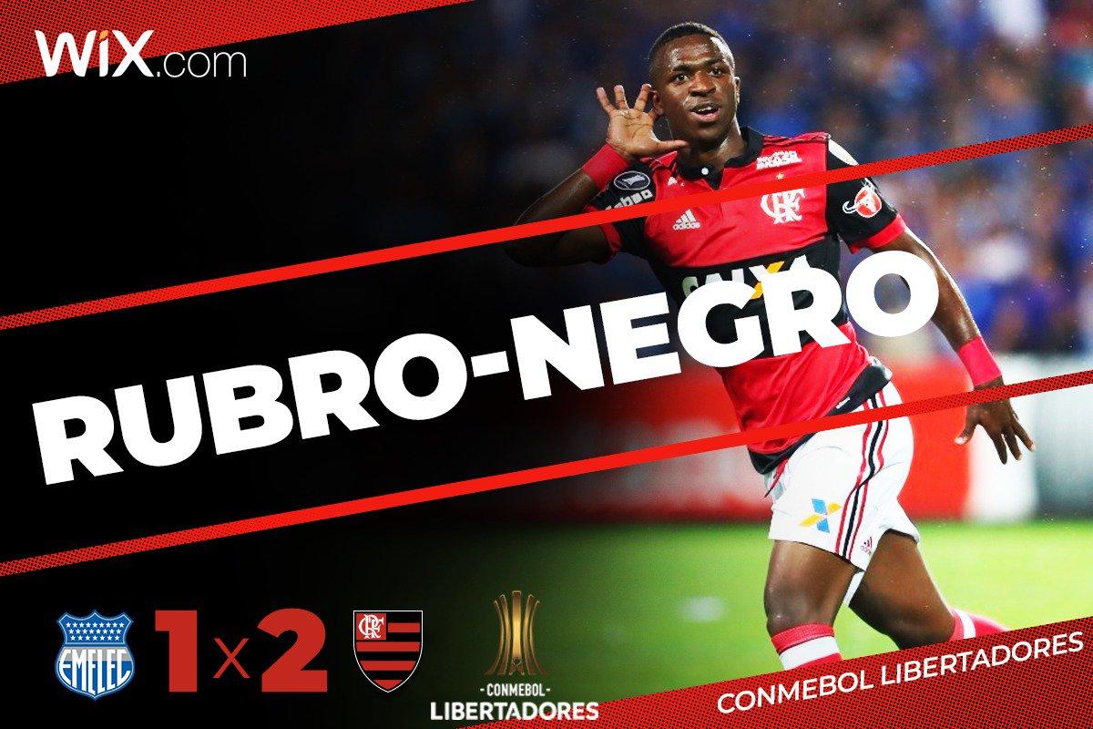 Meu sangue, meu amor, meu viver... ah, e meu menino! É tudo #RubroNegro  Foi na base do vira-vira no Equador. Com dois gols de Vinicius Junior, o Mengão conquista a primeira vitória na Conmebol Libertadores: 2x1.  Vem pro @NacaoCRF: https://t.co/fSmlt3UMW7