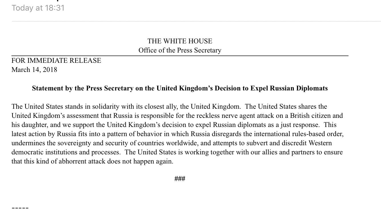 Statement by the Press Secretary on the United Kingdom's Decision to Expel Russian Diplomats https://t.co/N8qDrajQUc