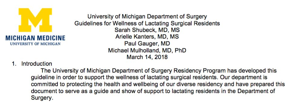 """(1/2) So proud to be a #MichiganSurgeon today! My @UMichSurgery general surgery residency program just formally adopted @arikanters and my """"Guidelines for Wellness of Lactating Surgical Residents."""" I think it's a pretty great day for @WomenSurgeons and for equity! Who is next??"""