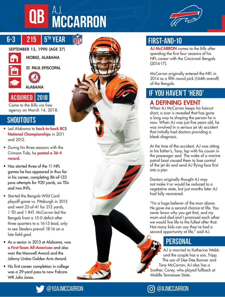 Buffalo Bills Pr On Twitter A J Mccarron Has Agreed To Join The Buffalobills On A Two Year Deal Learn More About The Bills New Signal Caller