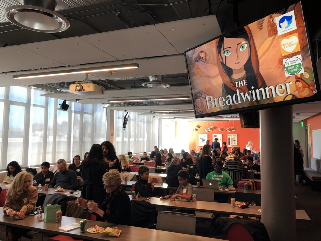 Full house of parents, teens, and community leaders here at @Twitter HQ for special screening of @BreadwinnerThe movie. It's about to begin! (Stay tuned for discussion afterward) Thank you @TwitterWomen @TwitterForGood #BeTheChange #GenderEquity