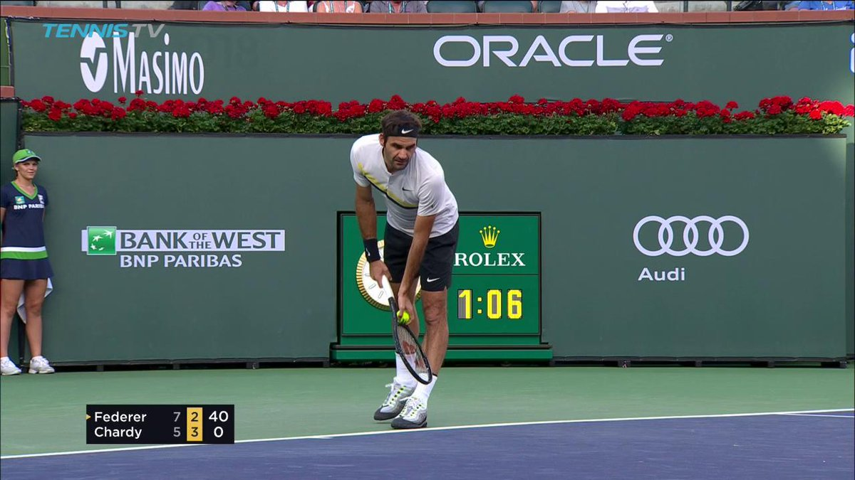 Point of the day!  Thanks for the entertainment @rogerfederer & @jimchardy.  #BNPPO18