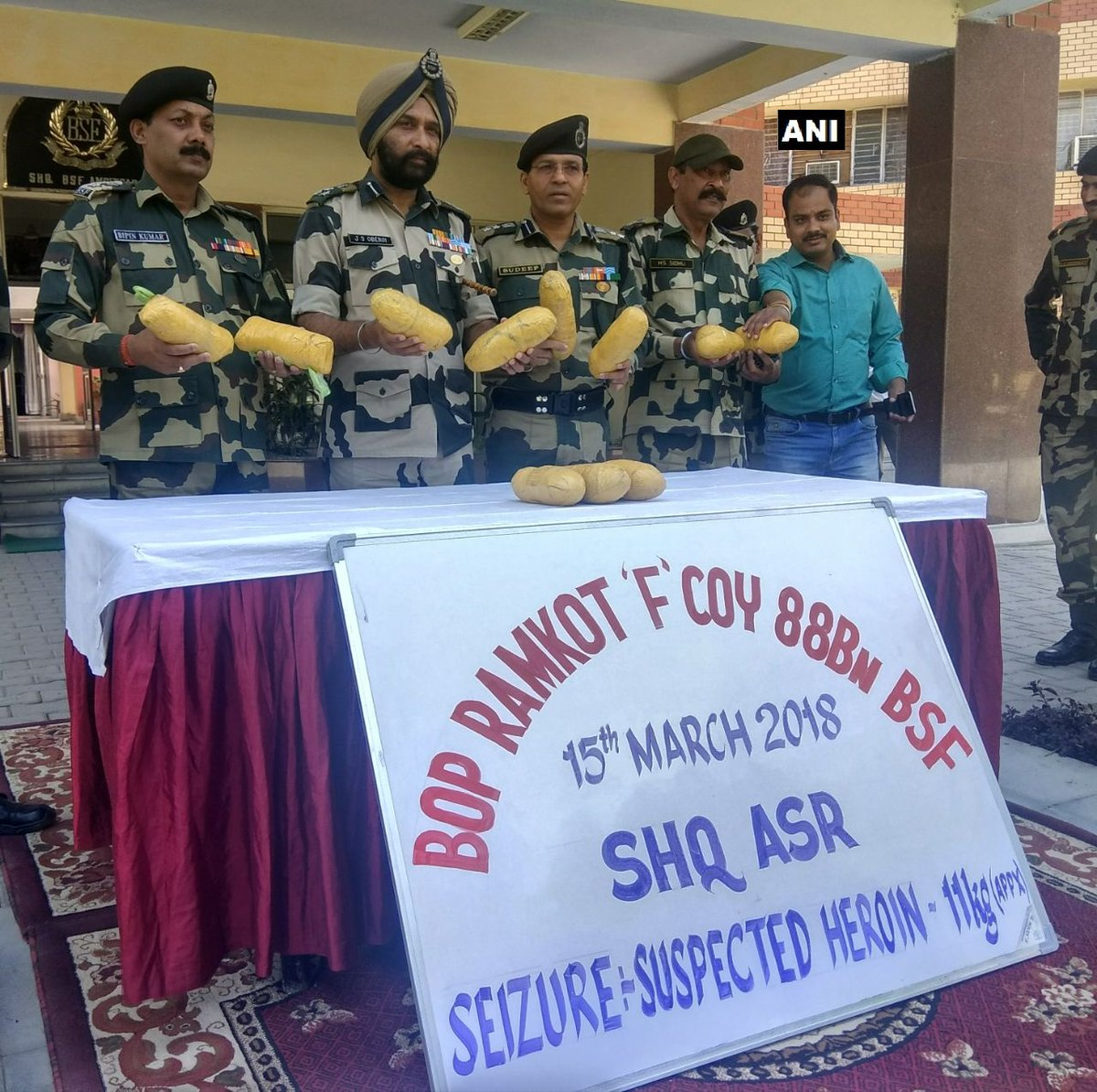 Amritsar: BSF recovers 11 Kg heroin from Ramkot area near Indo -Pak border. The smugglers fled after being challenged by the BSF.
