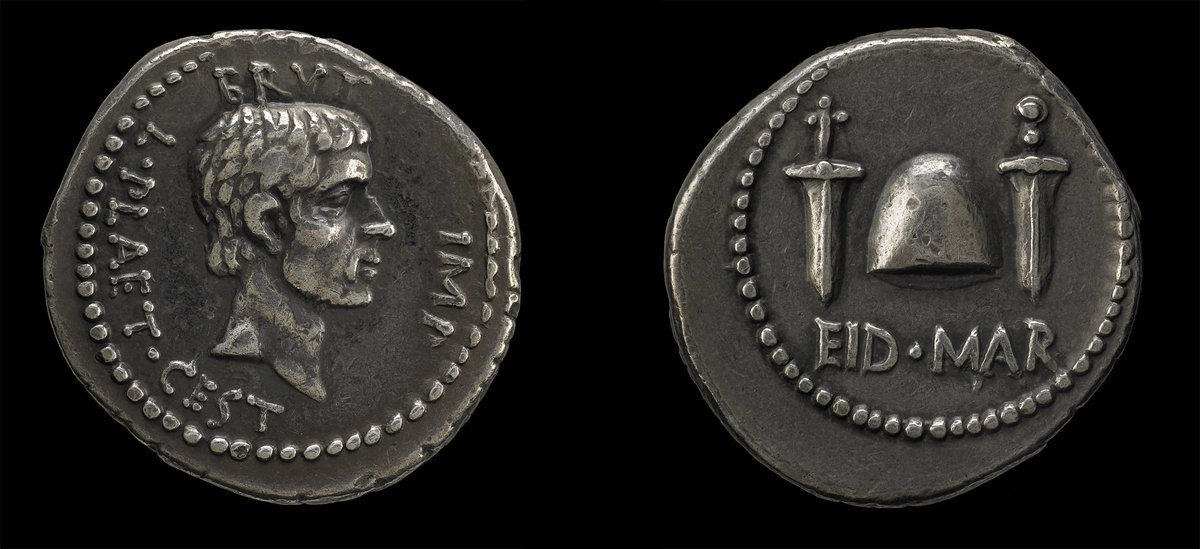 Beware the Ides of March! Julius Caesar was assassinated #onthisday in 44 BC. This coin was issued by his betrayer Brutus 🗡️🗡️ https://t.co/JEGMInKpNG