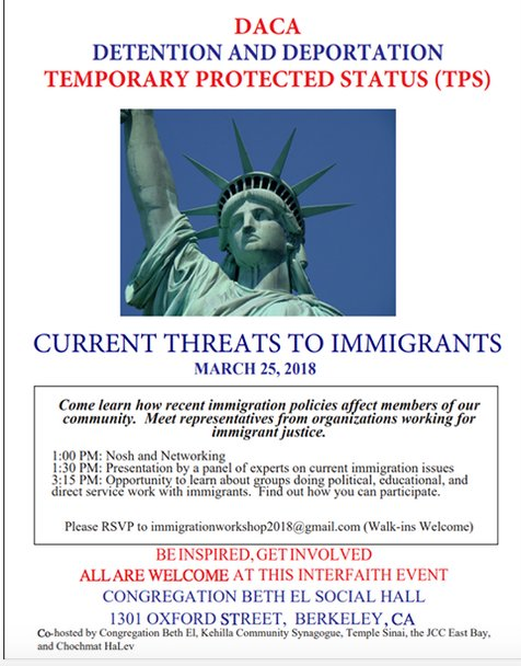 DACA, Detention and Deportation - Current Threats to Immigrants @ Congregation Beth Al | Berkeley | California | United States