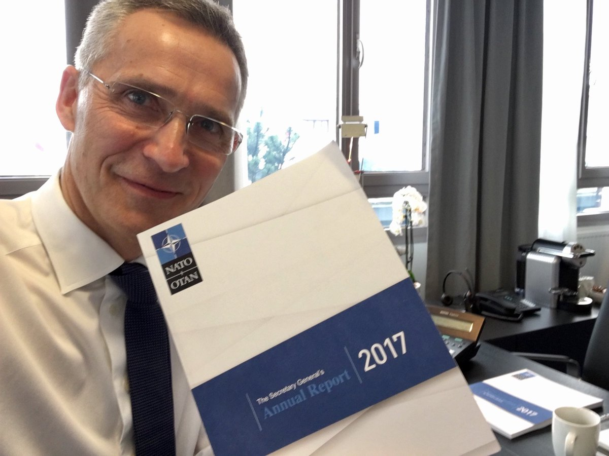 Just finishing my preparations for the launch of my Annual Report. The report shows that, in an unpredictable world, #NATO is stepping up to keep our nations safe. I'll address burden-sharing, Russia and Afghanistan. Watch live on NATO.int at 1230 CET. #SGReport