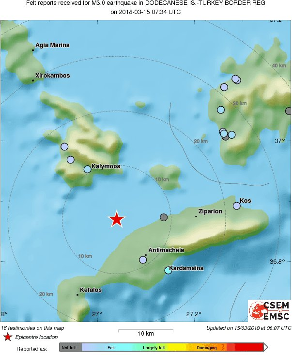 M3.0 #earthquake (#σεισμός) strikes 22 km W of #Kos (#Greece) 34 min ago. Effects reported by witnesses: