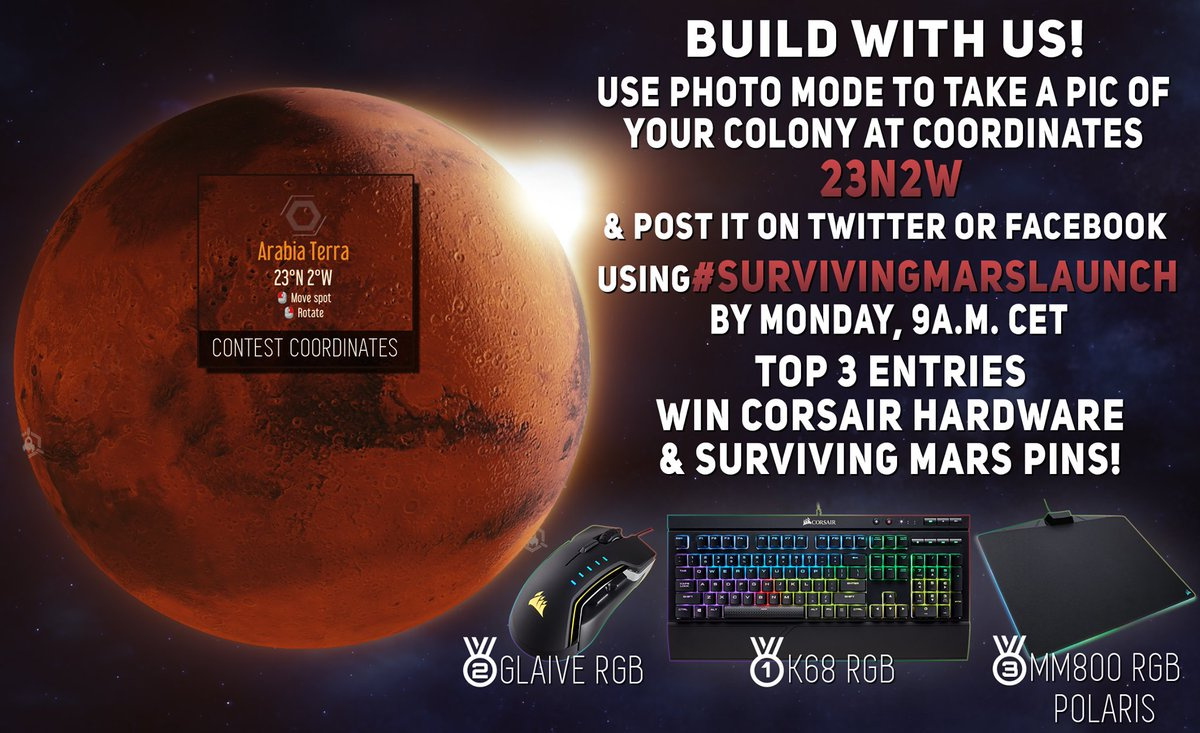Win a dust and spill resistant K68 RGB mechanical keyboard from @CORSAIR as well as a #SurvivingMars pin - by having fun building on the same map that we will be playing on during the Marathon Launch Stream today from 12:00 CET! twitch.tv/paradoxinterac…