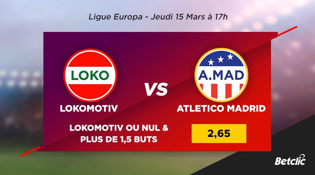 🏆 Ligue Europa  ⚽ Lokomotiv Moscou - Atletico Madrid  ℹ L'Atletico a remporté le match aller 3-0.  💰 Victoire du Lokomotiv ou match nul & plus de 1,5 buts : cote à 2,65 !  ➡️ Les cotes du match : https://t.co/B8eKGGXdZO