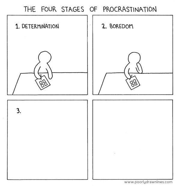 The Four Stages of Procrastination  bit.ly/1EZzRrj ✒ by @PDLComics