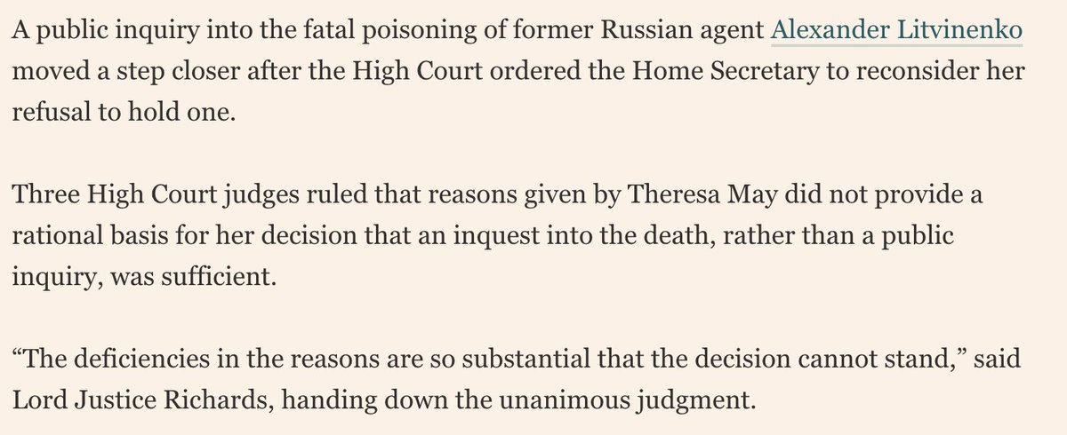Theresa May refused to hold an inquiry over Litvinenko's murder over and over again - and was eventually forced into it because of his widow's ceaseless campaigning and pressure from the High Court.  By dragging her feet, the Prime Minister emboldened those responsible.
