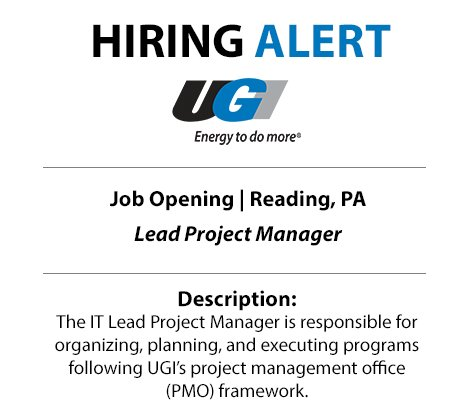 test Twitter Media - Energy jobs are on the rise. Don't miss your chance to join our rapidly expanding industry. UGI is searching for a Lead Project Manager to join our team in Reading. Apply today: https://t.co/A0IK29XoxF #MyNatGasJob #GetIntoEnergy https://t.co/MoNT8gRqkF