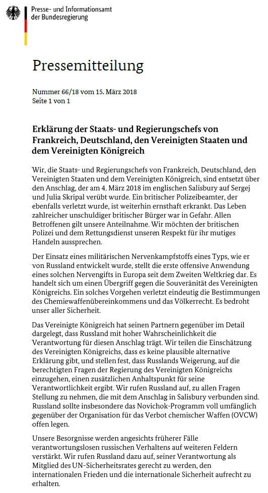 Deutschland, Frankreich, Großbritannien und die USA rufen in gemeinsamer Erklärung Russland auf, zu allen Fragen Stellung zu nehmen, die mit dem Anschlag in #Salisbury verbunden sind.