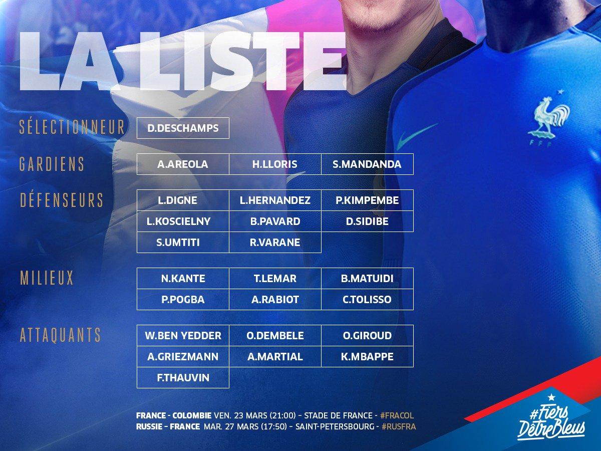 Voici la liste @equipedefrance qui affrontera la Colombie & la Russie 🇫🇷🔥! #FiersdetreBleus 💪