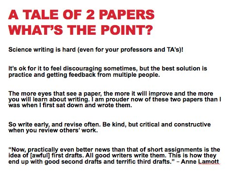 Really excited for my lecture today to my science writing students - Im planning to tell the story of two of my manuscripts (1 re-submitted for review, 1 published), how many drafts it took to get there & the reviewer comments we received. Heres the summary slide.