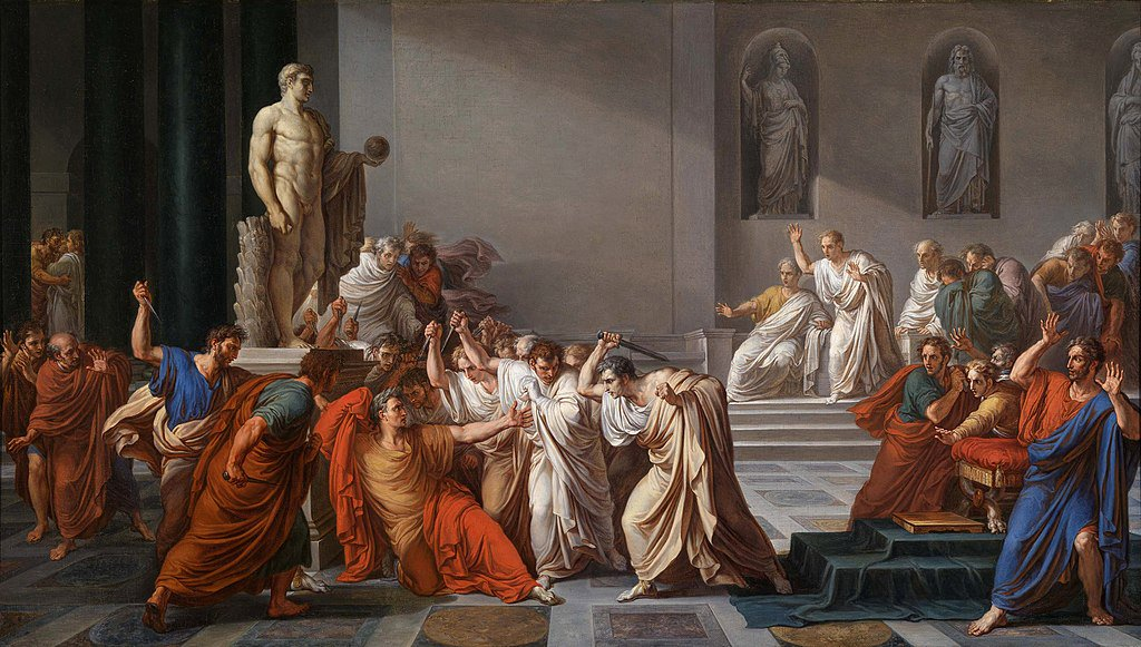 HISTORY: On this day in 44 BC, Julius Caesar was stabbed to death by Marcus Junius Brutus and other Senators in the Theatre of Pompey in Rome.
