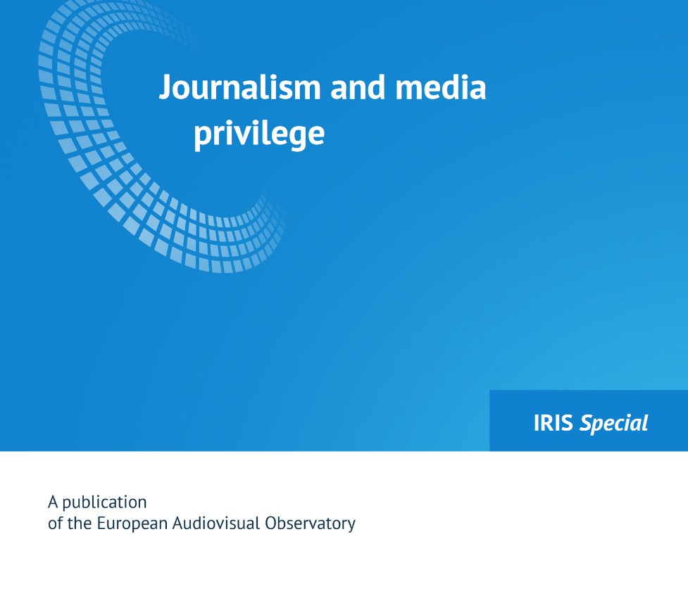 #CoE publication: Journalism and media privilege. rm.coe.int/journalism-and…