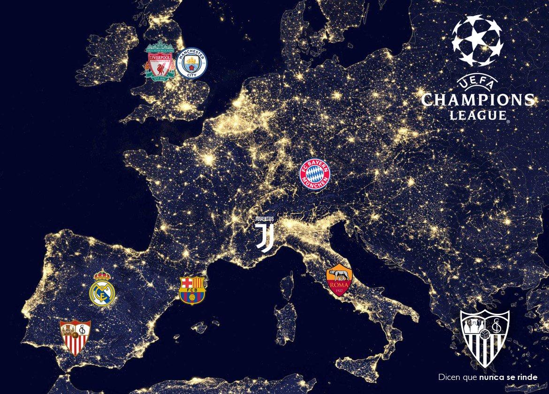 Ya hemos jugado en Anfield, Bernabéu, Camp Nou, Etihad y Juventus Stadium… En 3 de esos estadios fuimos campeones y a 3 de los 7 posibles rivales en cuartos de @Ligadecampeones, le hemos ganado una final. Sí, somos el #SevillaFC ¡¡¡Buenas noches y a seguir soñando!!! 🌛💪