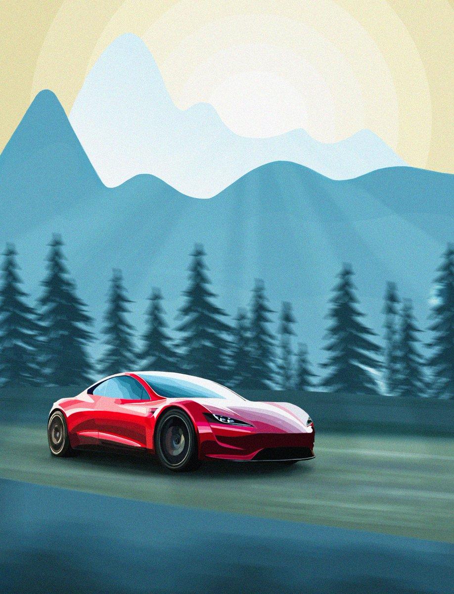 Roadster Illustration Wallpaper Tesla Motors Club