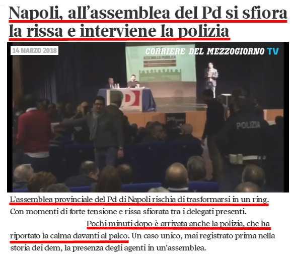 """Rissa nella """"democratica"""" assemblea del #PD di #Napoli!Interviene la #Polizia per riportare la calma!Indovinate il motivo della diatriba? La """"poltrona"""" di segretario provinciale PD ... quelli """"accanto agli ultimi ai poveri"""" (Cit. #richetti)  - Ukustom"""