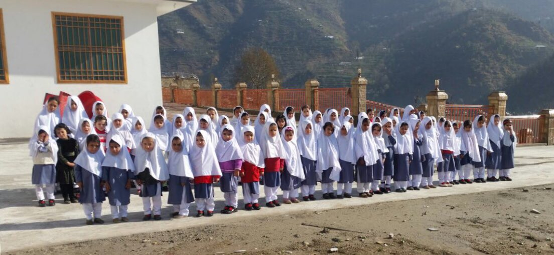 Congratulations to students at KKF Model School in Shangla on your first day! I was proud to give my @NobelPrize money to help build this school for girls in my home community. Thank you @MalalaFund, @Aman_Foundation, @TheBigHeartUAE & @susanmccaw.