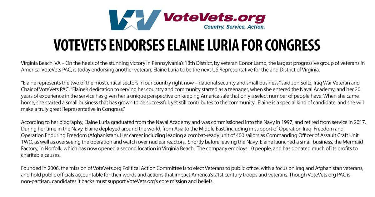 After the #BlueWave2018 victory by veteran Conor Lamb, the largest progressive group of veterans in America, VoteVets PAC, is today endorsing another veteran, @ElaineLuriaVA to be the next US Representative for the 2nd District of Virginia. #VApol