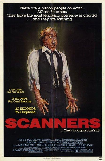 Happy 75th birthday to David Cronenberg. Scanners, 1981.
