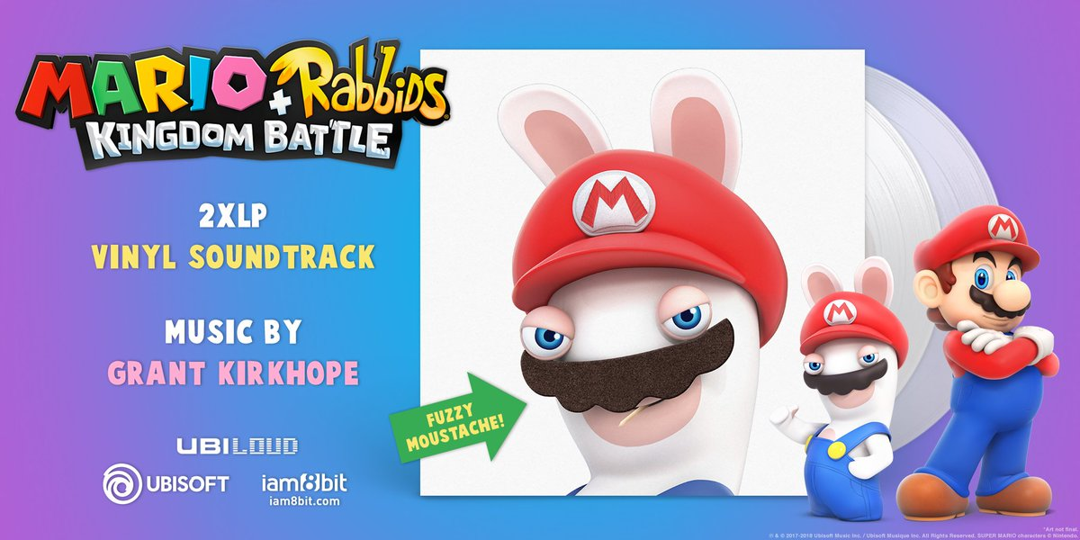 Its-a... HUH!? Mario + Rabbids Kingdom Battle 2xLP vinyl soundtrack w/ FUZZY MUSTACHE & Paper Doll Playset. Music by the legendary Grant Kirkhope. Exclusively from @iam8bit bit.ly/MarioRabbidsvi…