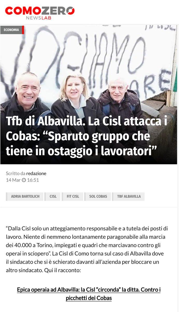 Il caso #TFB su @ComoZero #FIT #Cisl @DeiLaghi #14marzo  - Ukustom