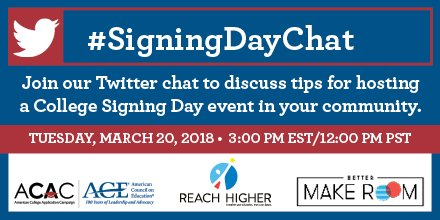 Hey friends! Well be hosting a #SigningDayChat with @ReachHigher and @American_CAC THIS Tuesday, March 20th at 3pm EST/12pm PST!   We hope youll join us! 🎉