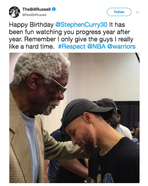 ICYMI: Bill Russell gave Stephen Curry the ultimate Happy Birthday!