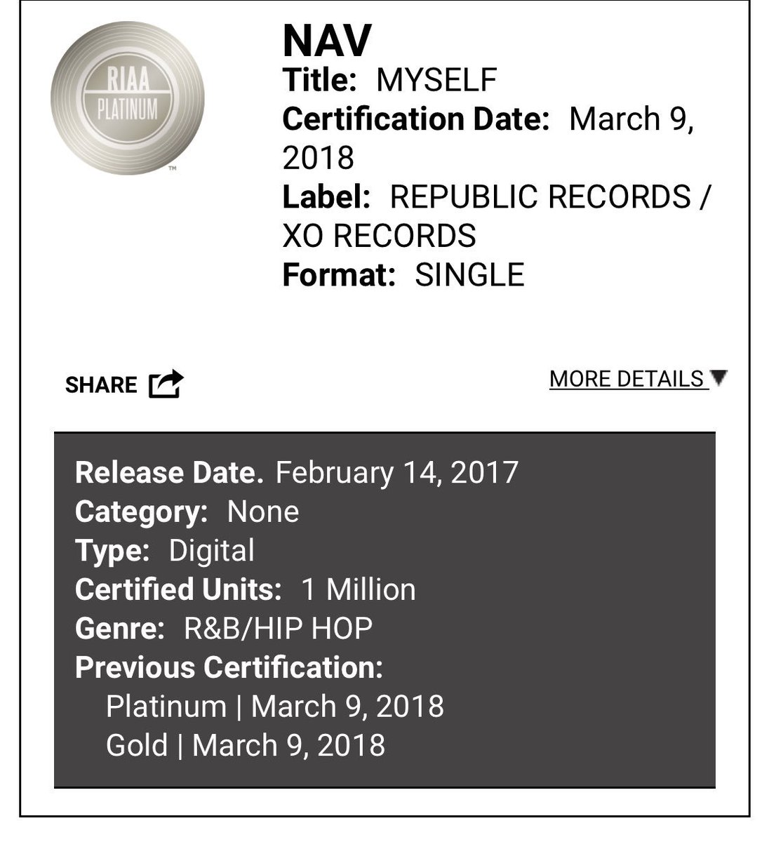 "Nav ""myself"" officially certified platinum!! Did y'all fw this song?? 🔥🔥 or 💩💩"
