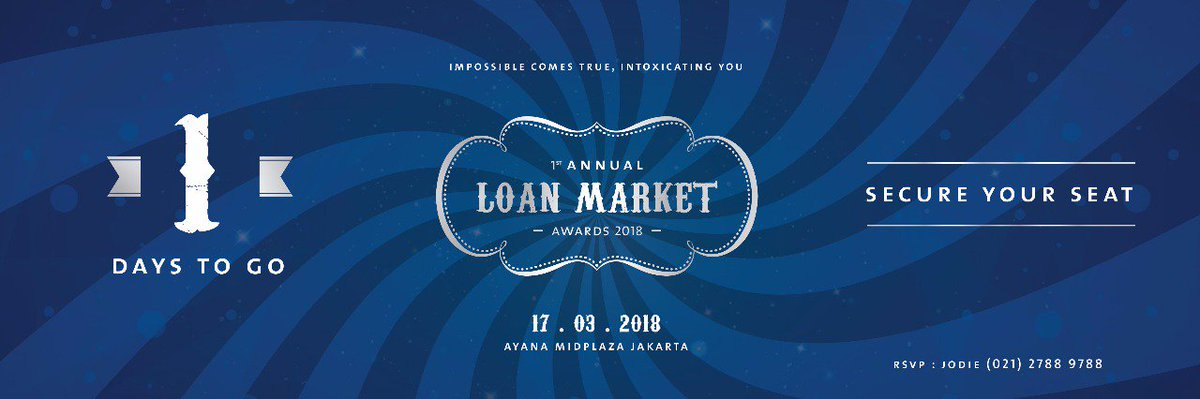 1 days to go! Be ready for our greatest event of the year..1st ANNUAL LOAN MARKET AWARDS 2018 ARE YOU THE WINNER? . .. ... #loanmarketindonesia#loanmarket#loanadviser#kpr#pinjaman#event#1stannual#awards#2018 pic.twitter.com/O8UVzkf0mp