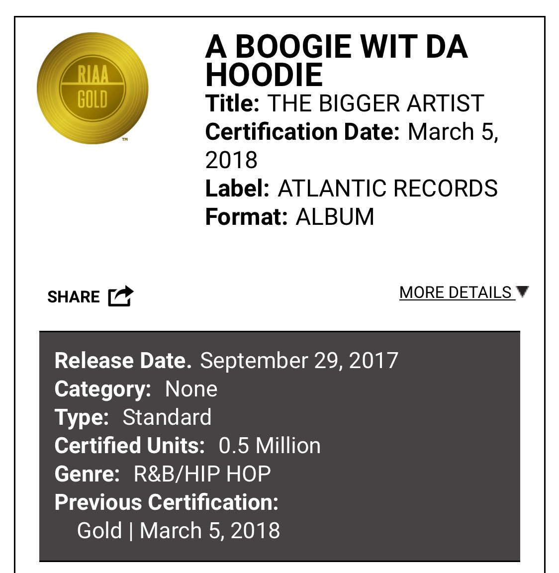 "A Boogie album ""the bigger artist"" is now GOLD. His singles ""timeless and ""Jungle"" are now platinum !"