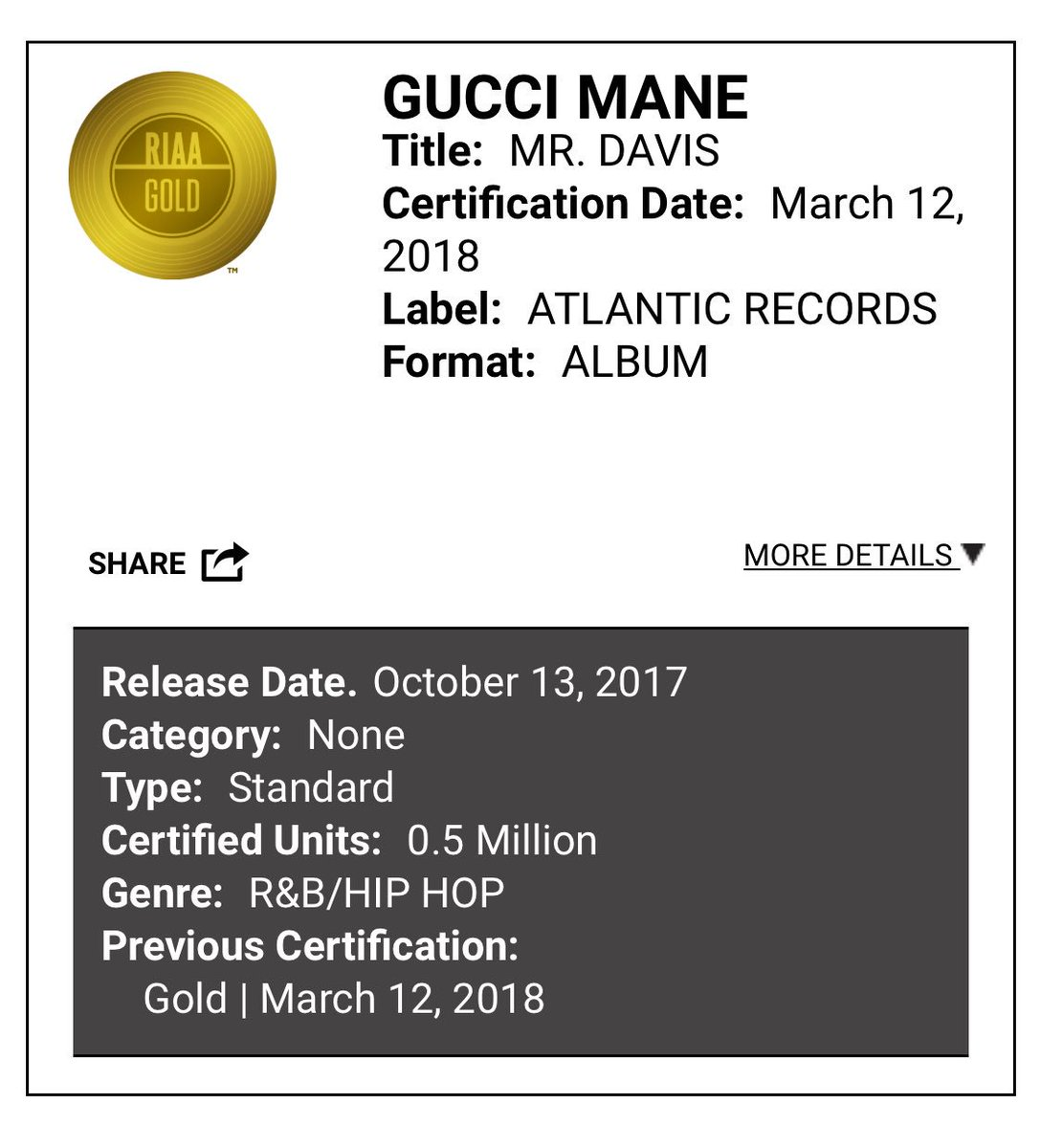 "Gucci Mane ""mr Davis "" album is now certified GOLD. Was it 🔥🔥 or 💩💩"