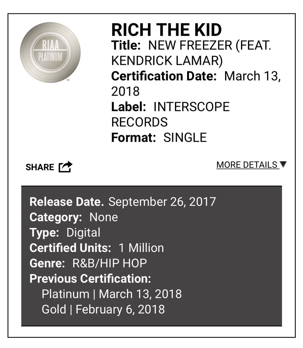 "Rich The Kid ""new freezer"" ft Kendrick Lamar is now certified platinum. Is this song 🔥🔥 or 💩💩"