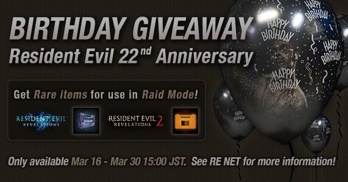 Grab Resident Evil 22nd Anniversary item presents for use in Revelations 1 and 2 from RE NET. Dont miss out on this limited-time opportunity! bit.ly/2DnI22l