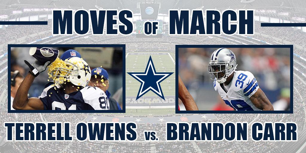 Hello #MarchMadness! Get ready for our Moves of March bracket challenge where you'll be able to vote on the Top 16 best moves the #DallasCowboys have made in March since free agency began.  Round 1, Matchup 1: @terrellowens vs. @BCarr39   VOTE ➡️ https://t.co/1To6hedpPN