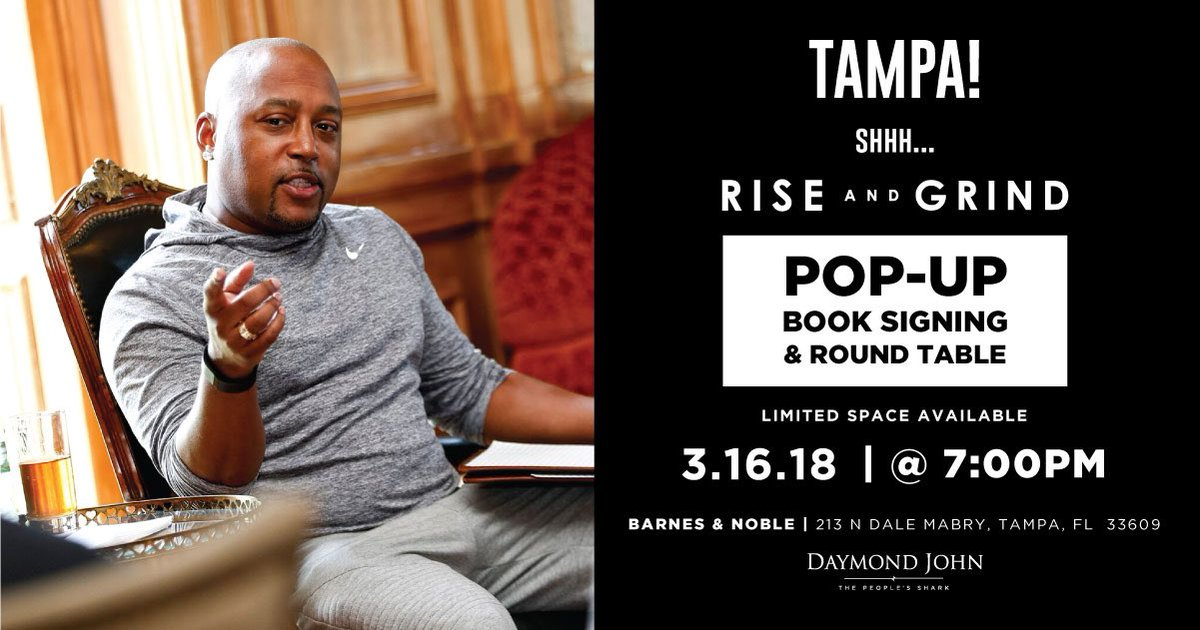 If you're in #Tampa, you're going to want to hear about this! I'm doing another one of my exclusive Pop-Up Book Signings.If you buy 10 copies of 'Rise and Grind' & go to the Barnes & Noble in Tampa at 7pm on 3/16, I'll have a special roundtable discussion w/ you!#RiseAndGrindBook