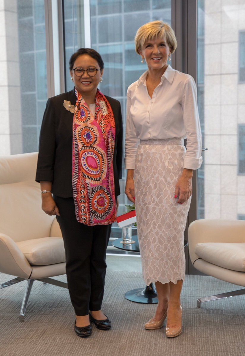 Productive discussions with Indonesian FM Retno Marsudi. As friends and close neighbours our two nations are committed to maintaining open, inclusive #IndoPacific Today we signed Maritime Cooperation Plan of Action @ASEAN Special Summit #ASEANinAus