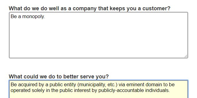 My gas utility wanted me to fill out an...