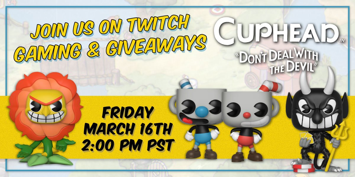 Whos ready for another gaming live stream? Join us on Twitch tomorrow for some #Cuphead fun & your chance at Pop!s, Shirts, protos & more! 🎮 twitch.tv/OriginalFunko