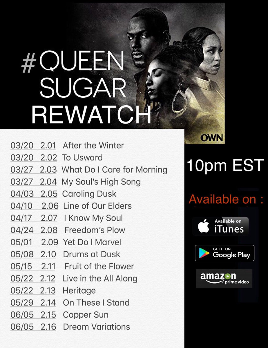 Get your sugar fix and join us .. #QueenSugarRewatch is back!!  Check out the schedule and join the conversation! #gimmesugar