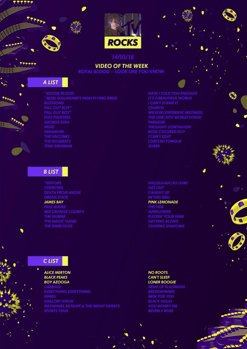 The MTV Rocks (Sky 355/Virgin 315) playlist is here ft. entries from... @JamesBayMusic  @AliceMerton  @blackpeaks  @boy_azooga Head here for the full playlist >>>  🌟https://t.co/0g24F76Cyi