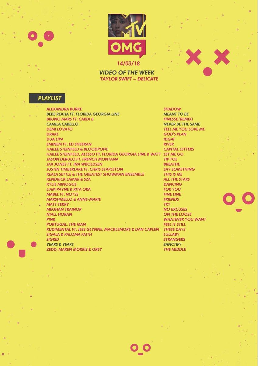 The MTV OMG (Sky 353/Virgin 318) playlist is here featuring tracks from... @BebeRexha  @camilacabello97 @ddlovato @RitaOra  @Drake  @DUALIPA @edsheeran  @Eminem  @HaileeSteinfeld  @jasonderulo   Head here for the full playlist >>>  💕https://t.co/iGneL7bWFP