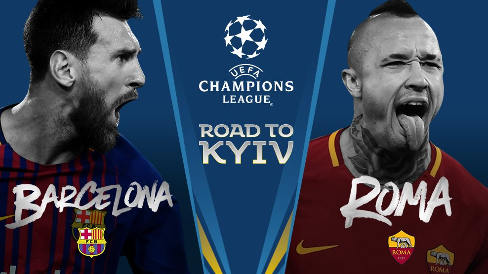 Barcelona vs AS Roma. via twitter @ChampionsLeague