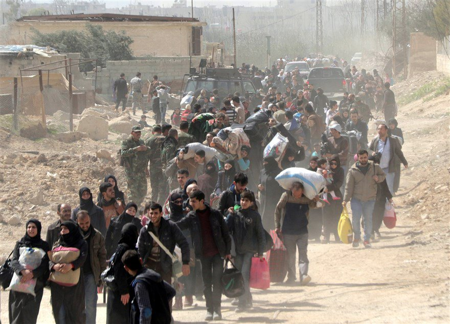 An estimated 42,000 civilians fled from a rebel pocket in eastern Ghouta near Damascus.  See more: nbcnews.to/2pewJ7o