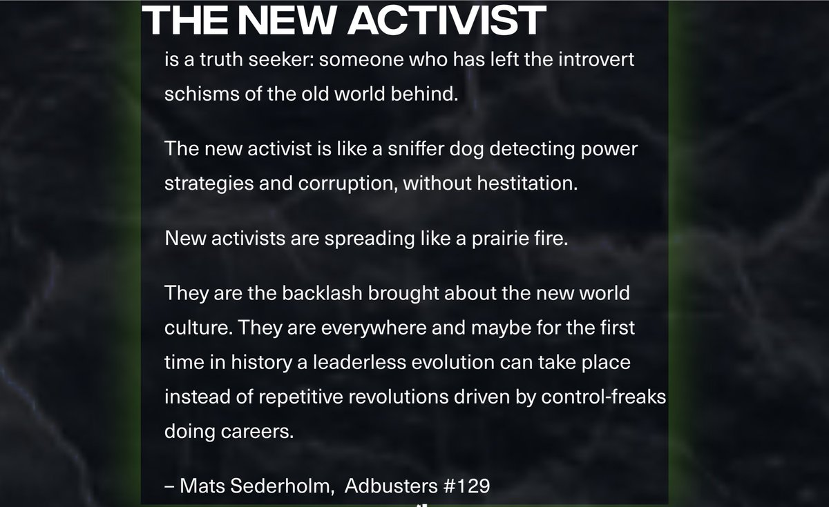 """""""A leaderless evolution can take place instead of repetitive revolutions driven by control-freaks doing careers."""" #TheNewActivist @Adbusters https://t.co/J1ZHOnuDGA"""